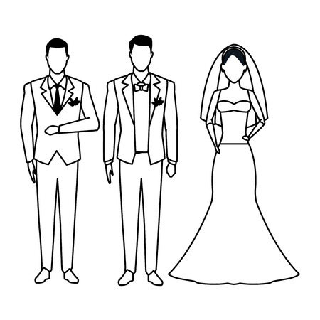 people dressed for wedding avatar cartoon character black and white vector illustration graphic design Ilustrace