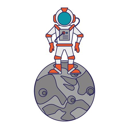 Astronaut on moon cartoon isolated vector illustration graphic design