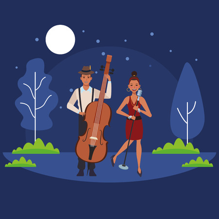 musician playing bass and singing avatar cartoon character in the park at night vector illustration graphic design