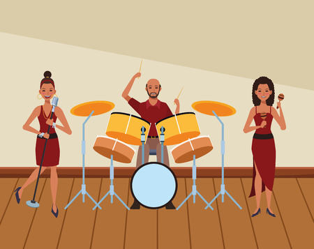 musician playing drums maracas and singing avatar cartoon character indoor rehearsal room vector illustration graphic design Stock Illustratie