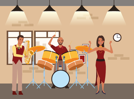 musician playing saxophone drums and dancing avatar cartoon character indoor rehearsal room vector illustration graphic design