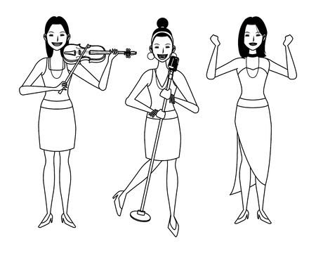 musician playing violin and singing and dancing avatar cartoon character black and white vector illustration graphic design