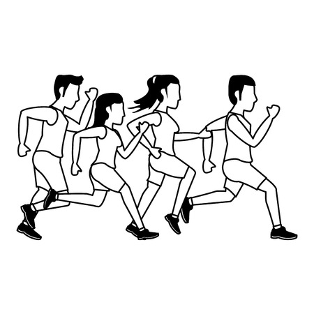 Fitness people running cartoon isolated vector illustration graphic design