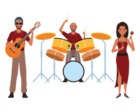 musician playing guitar drums and maracas avatar cartoon character vector illustration graphic design Stock Illustratie