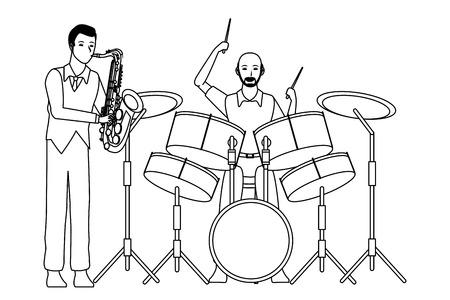 Músico tocando el saxofón y la batería avatar personaje de dibujos animados ilustración vectorial en blanco y negro diseño gráfico