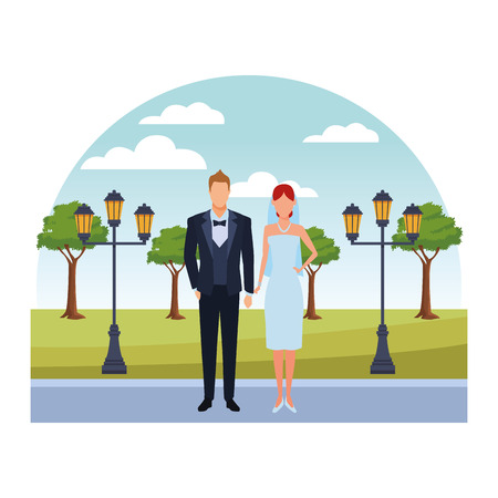 groom and bride avatar cartoon character in the park vector illustration graphic design Ilustrace