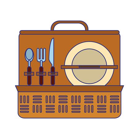 Picnic basket with dish and cutlery vector illustration graphic design Ilustração