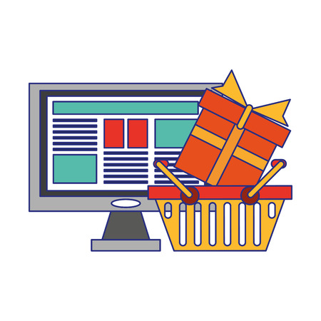 Online shopping and payment symbols vector illustration graphic design  イラスト・ベクター素材
