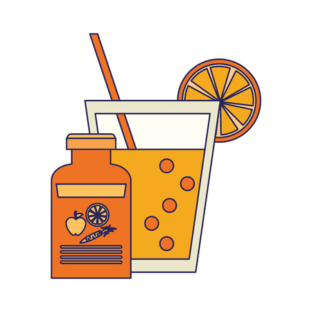 Detox fitness smoothie with diet supply bottle vector illustration graphic design