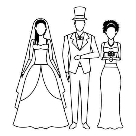 people dressed for wedding avatar cartoon character black and white vector illustration graphic design Çizim