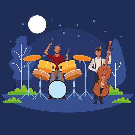 musician playing bass and drums avatar cartoon character in the park at night vector illustration graphic design