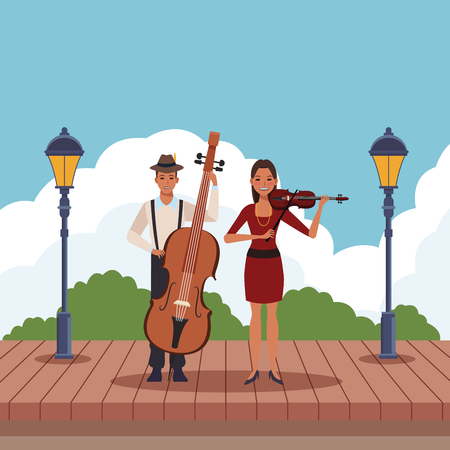 musician playing bass and violin avatar cartoon character in the park vector illustration graphic design
