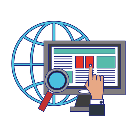 Businessman hand touching computer global business vector illustration graphic design Ilustrace
