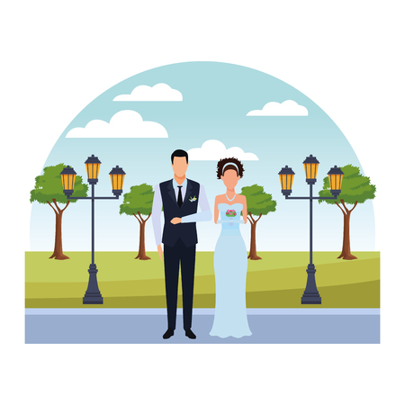 groom and bride avatar cartoon character in the park vector illustration graphic design Stock Illustratie