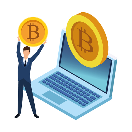 businessman with cryptocurrency and laptop icon cartoon vector illustration graphic design Standard-Bild - 122547162