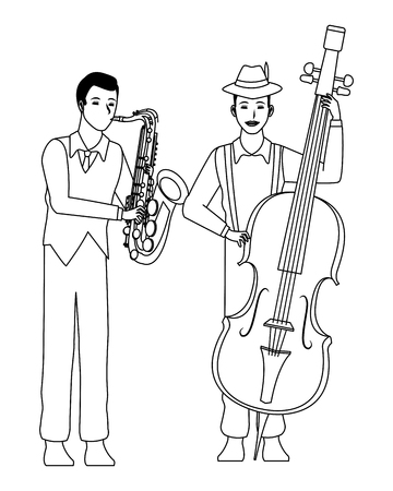 musician playing saxophone and bass avatar cartoon character black and white vector illustration graphic design