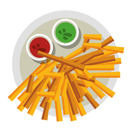 Frech fries and sauces on dish food vector illustration graphic design