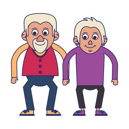 Elderly couple grandparents senior citizen vector illustration graphic design 스톡 콘텐츠 - 122547199