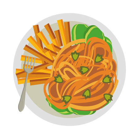 Spaghetti and french fries with fork food vector illustration graphic design Banque d'images - 122547205