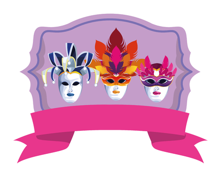 set of masks with feathers icon with ribbon cartoon vector illustration graphic design Illusztráció