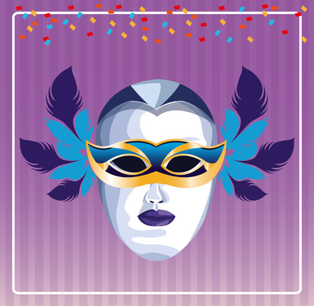 mask with feathers pop art icon cartoon vector illustration graphic design Ilustração
