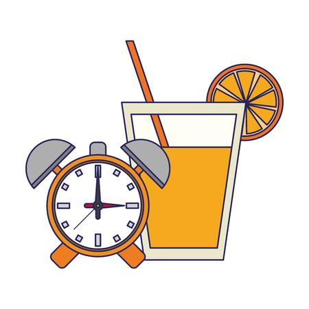 Detox fitness smoothie with alarm clock vector illustration graphic design