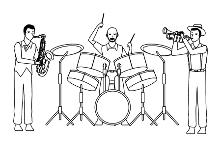 musician playing saxophone drums and trumpet avatar cartoon character black and white vector illustration graphic design