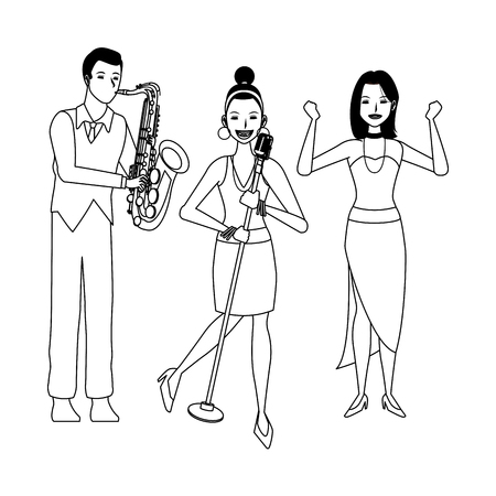 musician playing saxophone singing and dancing avatar cartoon character black and white vector illustration graphic design