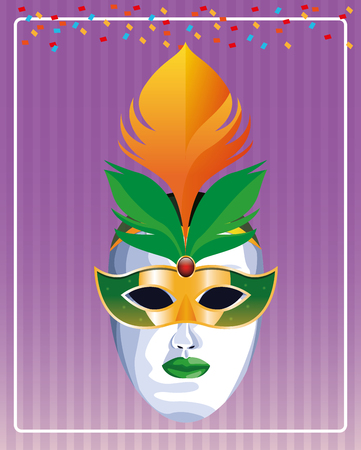 mask with feathers pop art icon cartoon vector illustration graphic design Ilustrace