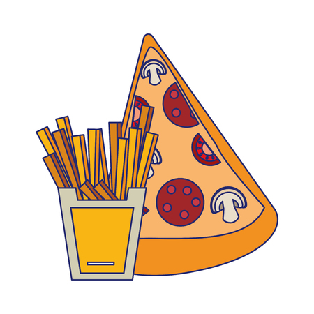Pizza and french fries fast food vector illustration graphic design