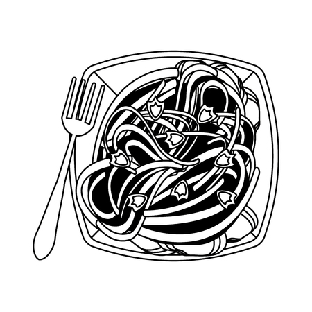 Spaghuetti on dish with fork food vector illustration graphic design Çizim