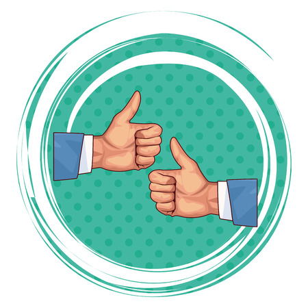 two thumbs up hands icons pop art background round icon vector illustration graphic design vector illustration graphic design
