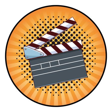 movie clapper board icon pop art background round icon vector illustration graphic design