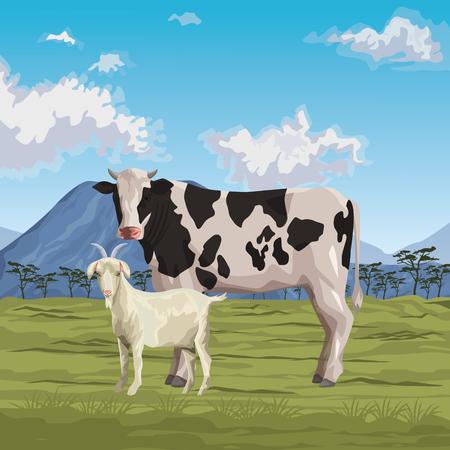 Diseño gráfico del ejemplo del vector del paisaje salvaje de la historieta del icono de la vaca y de la cabra