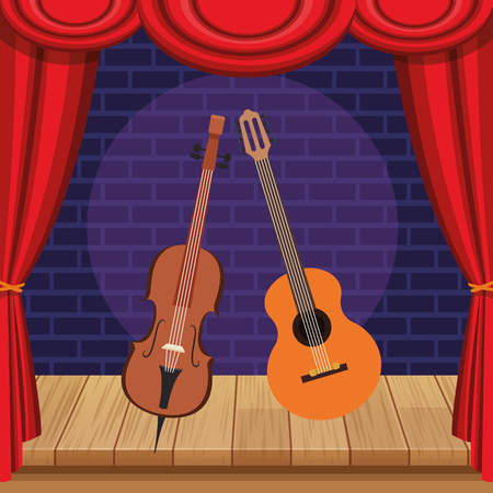 violin and guitar icon cartoon on stage vector illustration graphic design