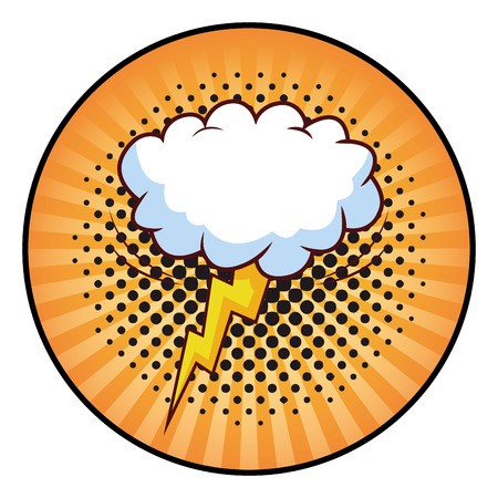 cloud and lightning icon pop art background round icon vector illustration graphic design
