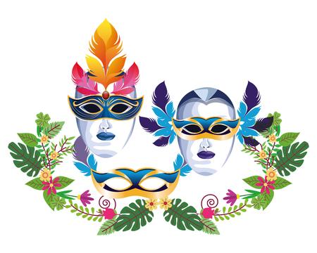 set of masks with feathers floral arrangement icon cartoon vector illustration graphic design Illustration