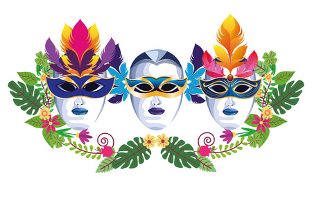 set of masks with feathers floral arrangement icon cartoon vector illustration graphic design Illusztráció