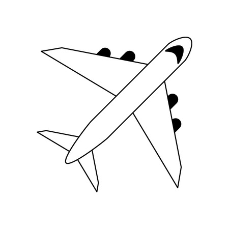 Airplane jet isolated topview vector illustration graphic design Vectores