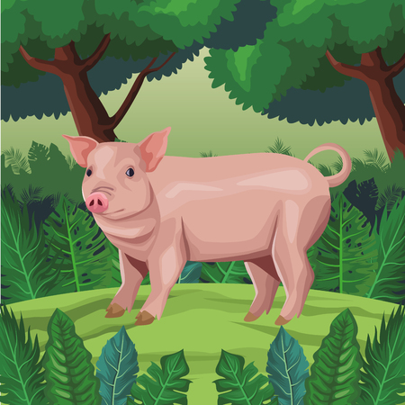 pig icon cartoon isolated wild landscape vector illustration graphic design