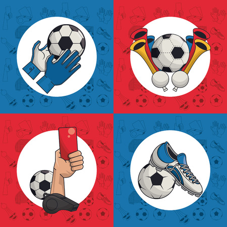 Soccer sport game cartoons collection vector illustration graphic design Illustration
