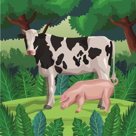 cow with pig icon cartoon wild landscape vector illustration graphic design