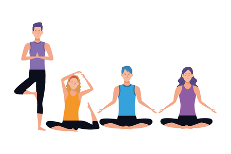 people yoga poses avatars cartoon character headband vector illustration graphic design