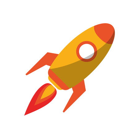 Rocket spaceship taking off symbol vector illustration graphic design Ilustrace