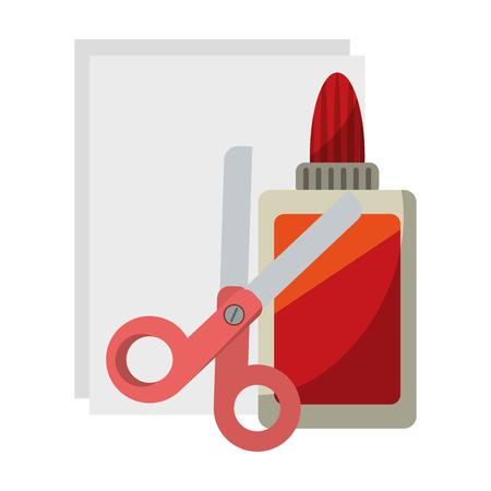 School utensils and supplies glue scissors and paper