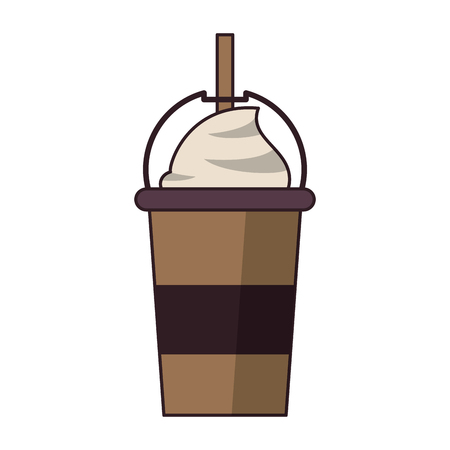 coffee cafe coffee shop concept element ice drink latte tall glass cartoon vector illustration graphic design