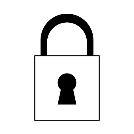 security padlock cartoon vector illustration graphic design in black and white Imagens - 122549658