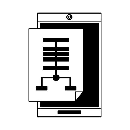 technology smartphone software tools cartoon vector illustration graphic design in black and white Ilustración de vector