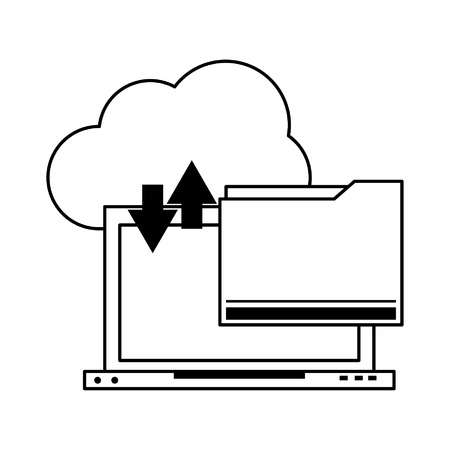 technology laptop software tools cartoon vector illustration graphic design in black and white Ilustração