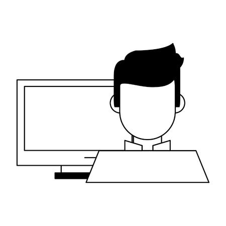 computer and a man icon cartoon vector illustration graphic design Ilustração